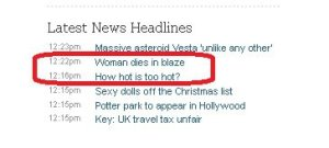 Probably not the two best headlines to list next to each other