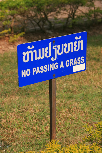 No passing a grass
