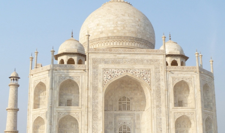 Taj Mahal, white from a distance but amazing shades of pale yellow and cream up close