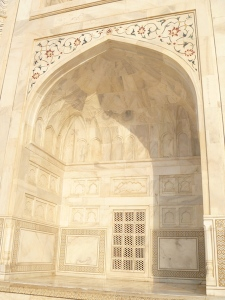 Taj Mahal up close, showing the patterns and colouring