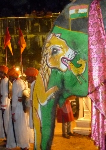 Painted wedding procession elephant