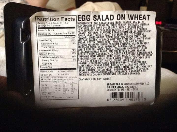 Egg Salad on Wheat