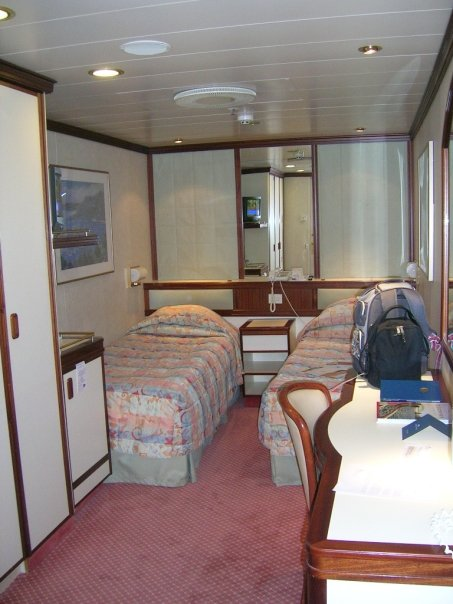 Twin inside stateroom, typical of most cruise ships