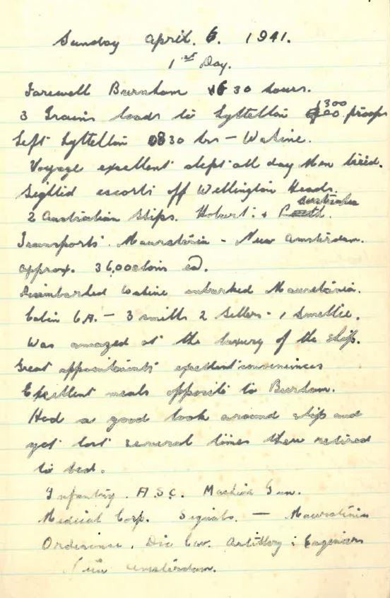 Grandad's WWII Diary - Sunday April 6 1941