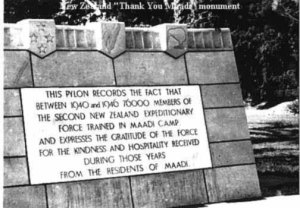 NZ Thank You Monument at Maadi Camp