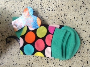 Colourful spotty socks (bought in Hong Kong)