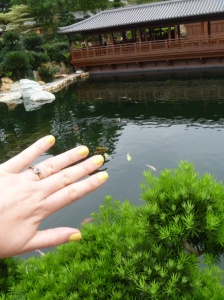 My  new nail polish matches the Koi at Nan Lian Garden
