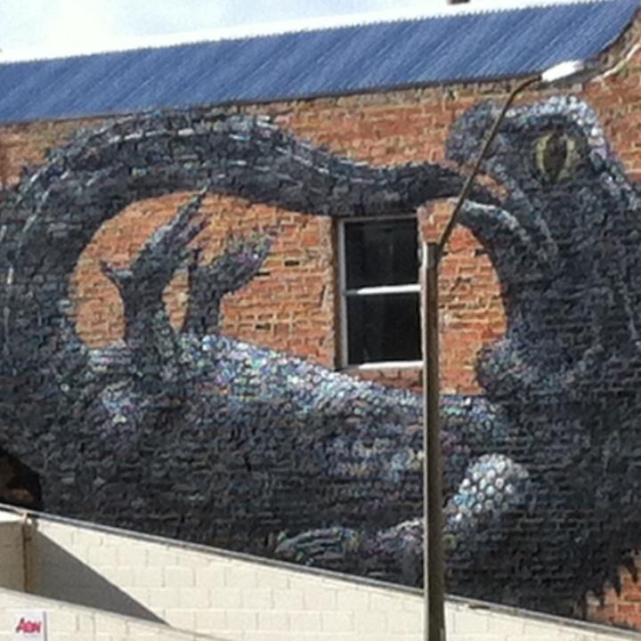 Tuatara Street Art by Belgian artist Roa