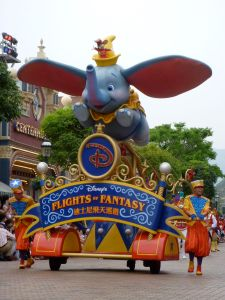 Dumbo, the first float in the parade, his ears flap and eyes blink
