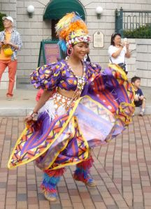 Colourful parade dancer