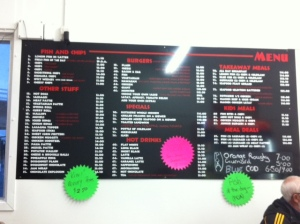 Fish'n'Chip shop menu