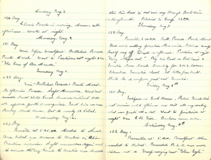 Grandad's WWII Diary – Sunday August 3rd 1941 - Saturday August 9th 1941