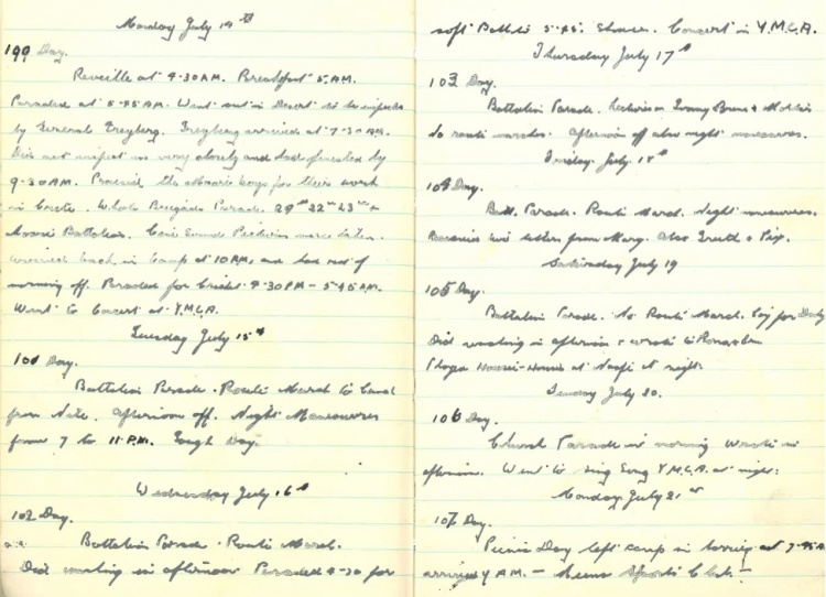 Grandad's WWII Diary – Monday July 14th 1941 - Monday July 21st 1941