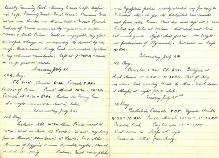 Grandad's WWII Diary – Monday July 21st (cont.) 1941 - Friday 25th July 1941