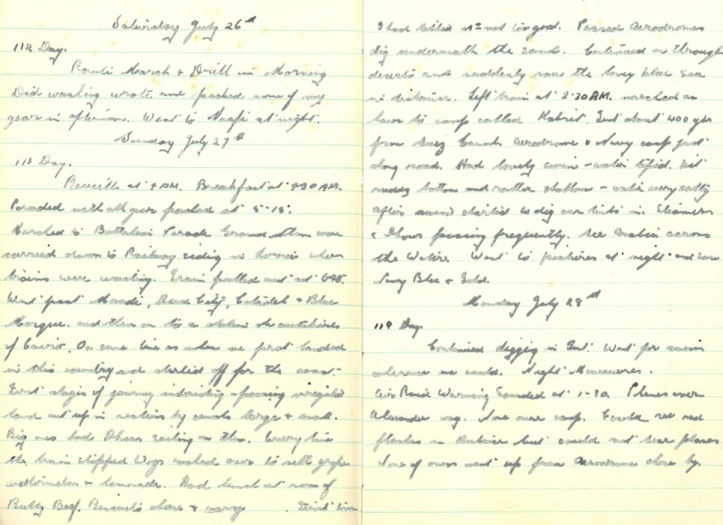 Grandad's WWII Diary – Saturday July 26th 1941 - Monday July 28th 1941