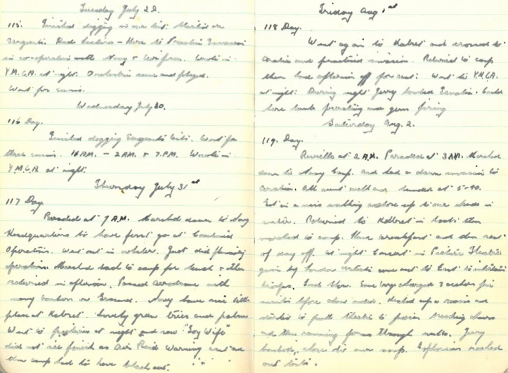 Grandad's WWII Diary – Tuesday July 29th 1941 - Saturday August 2nd 1941