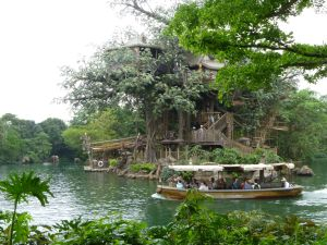 The Jungle Cruise at Hong Kong Disneyland goes around Tarzan's Treehouse - which you need to catch a raft to visit