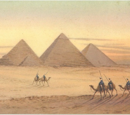 "From the back of the postcard ""The Three Pyramids of Giza, which are among the oldest monuments of mankind. From right to left: The Great Pyramid build by Kheops 2900BC. The second pyramid, built by Khephren 2869BC. The third pyramid built by Mankaura 2774BC."""