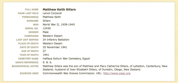 Cenotaph Record from the Auckland War Memorial Museum website