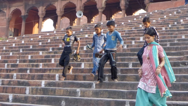 Children at the mosque in Delhi