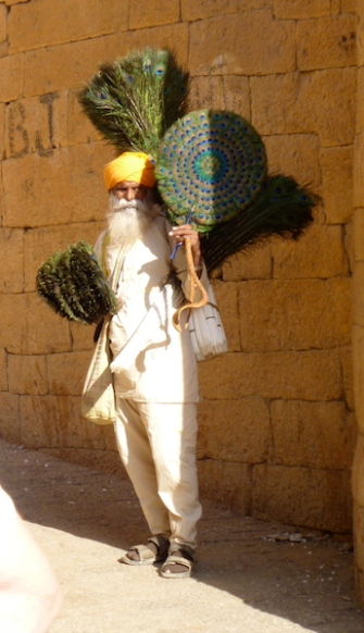 Peacock feather seller
