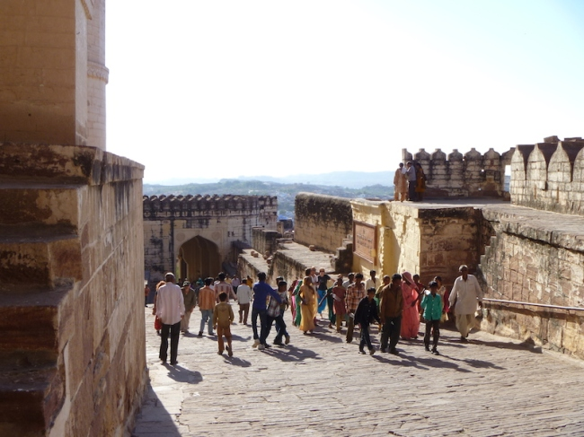 Tourists at a fort