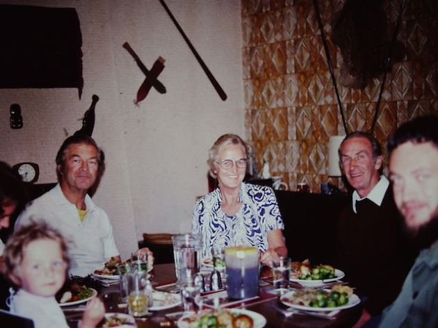 Get a load of that wallpaper!  Finally identified the mystery woman as my Dad's cousin - no idea who the man is to her left though.  Grandad and my Dad to the right and me in the far left.