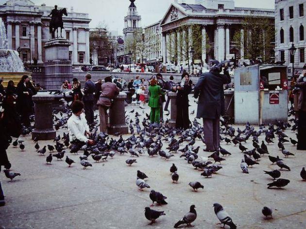 Trafalgar Square - love the green suit!