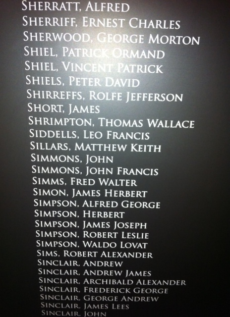 Keith's name on the wall at the Early Settlers Museum in Dunedin