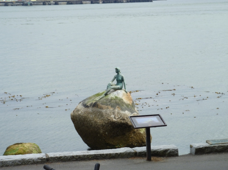 Girl in a Wetsuit, life size bronze sculpture by Elek Imredy (in the style of Copenhagen's The Little Mermaid)