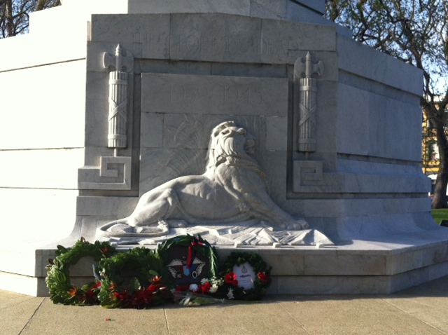Wreaths on the WW2 memorial side