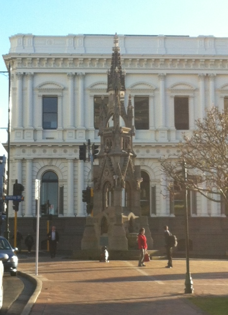 The Cargill Monument marks the location of the first Salvation Army meeting in New Zealand