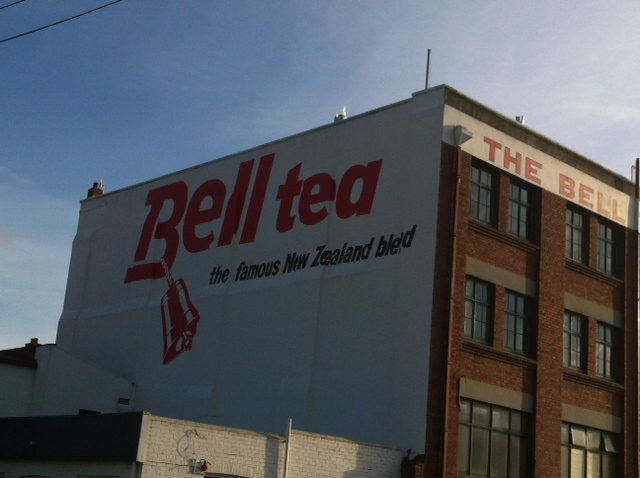 "The Bell Tea building - at this angle it reads ""The Famous New Zealand Bled"""
