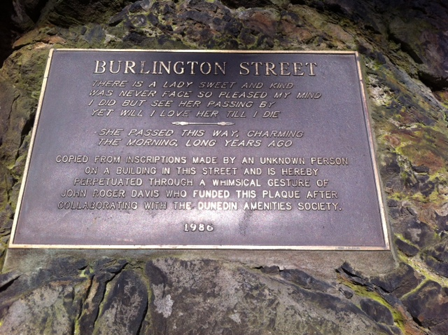 Plaque on the wall of Burlington Street