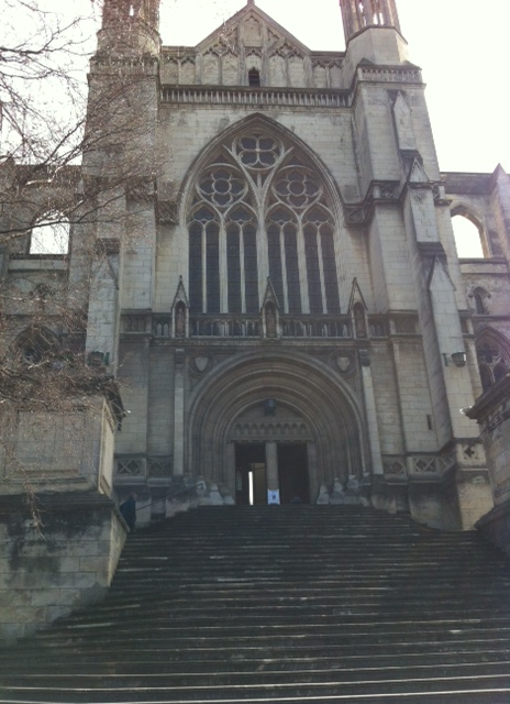 Walking up the steps to the Cathedral