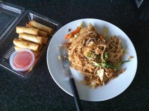 San Restaurant - Spring Rolls and Char Noodle