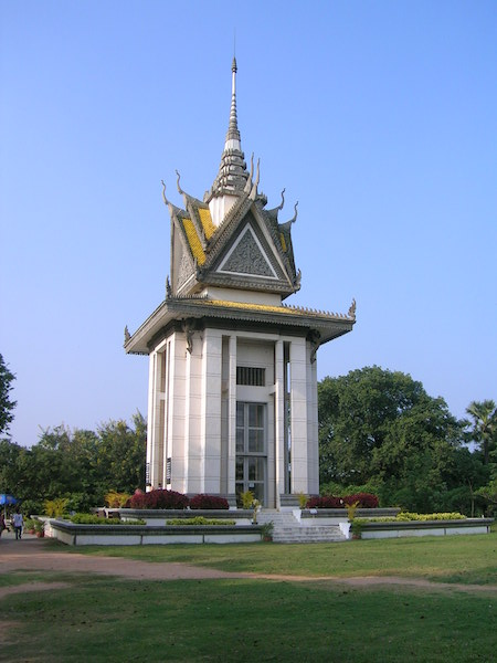 Stupa at The Killing Fields - contains 5000 human skulls