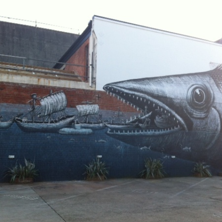 Phlegm street art - giant fish
