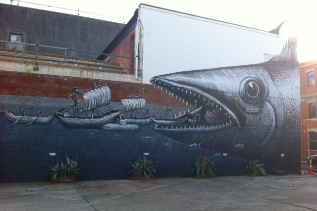 Phlegm street art - giant fish