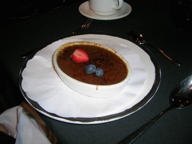 Creme Brulee with seasonal berries most likely