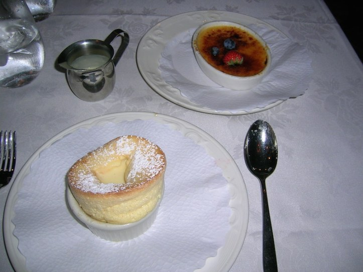Souffle with vanilla sauce (in the wee jug) and as we couldn't choose, oh look a Creme Brûlée too