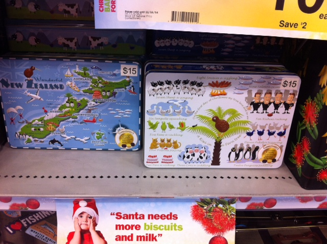 New Zealand themed biscuit tins