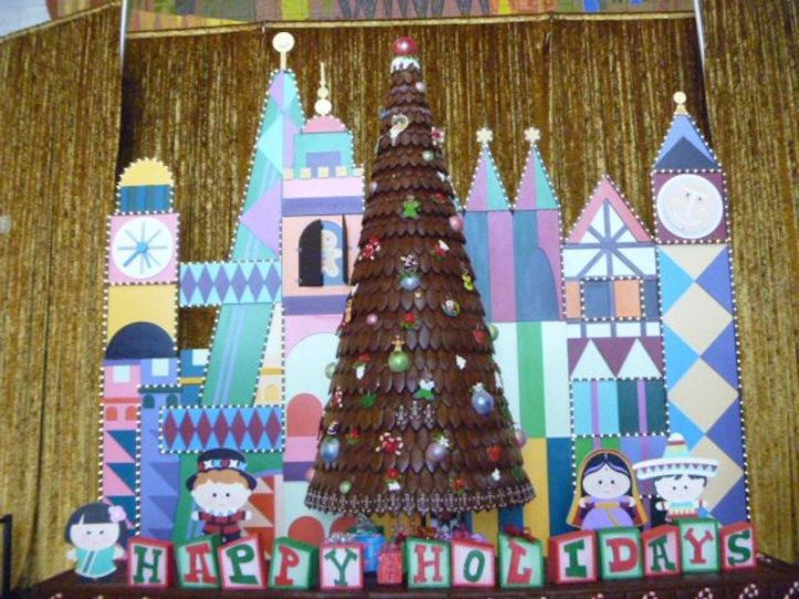 Gingerbread Christmas Tree at the Contemporary Resort Hotel with Mary Blair's It's a Small World theme
