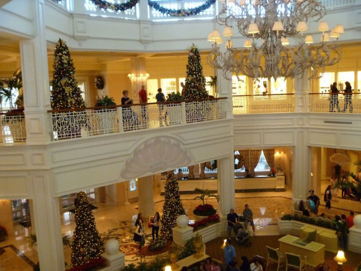 Lots of elegant victoria themed Christmas Trees in the Grand Floridian Resort's lobby