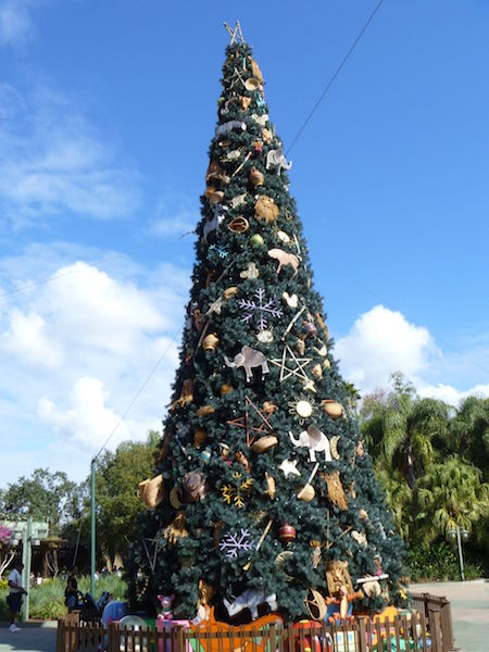 Christmas Tree outside Disney's Animal Kingdom theme park with animal decorations