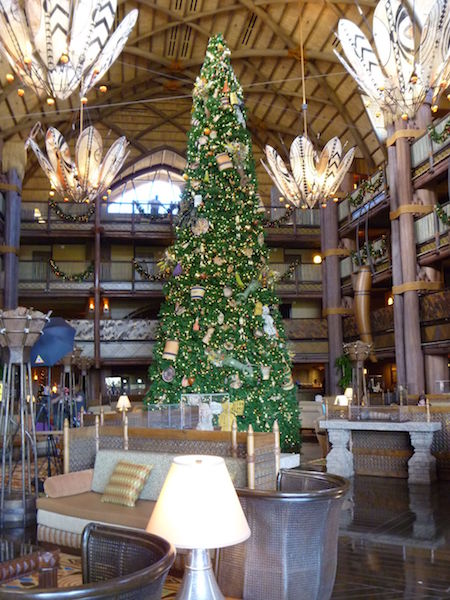 An African inspired Christmas Tree at the Animal Kingdom Lodge