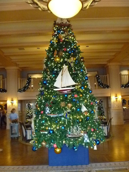 Nautical themed Christmas Tree in the Yacht Club Resort Lobby