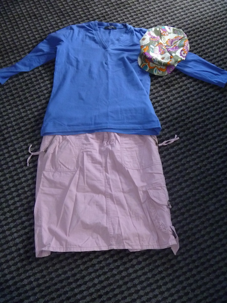 3/4 sleeve blue wear-once-and-leave t-shirt with the skirt and hat from above.
