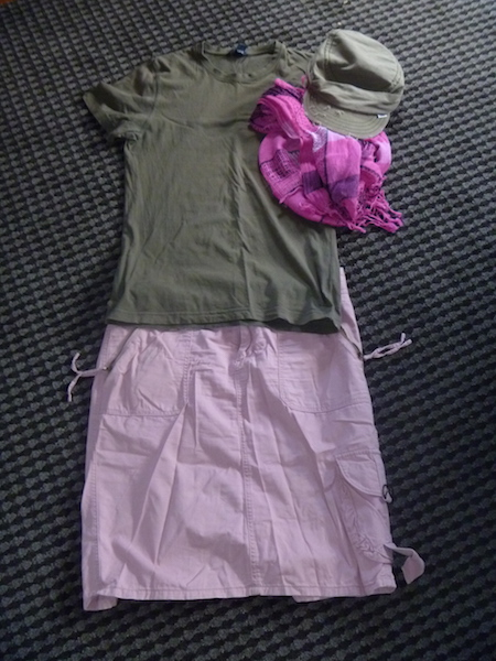 Khaki wear-once-and-leave t-shirt with the khaki cap and pink scarf and skirt.