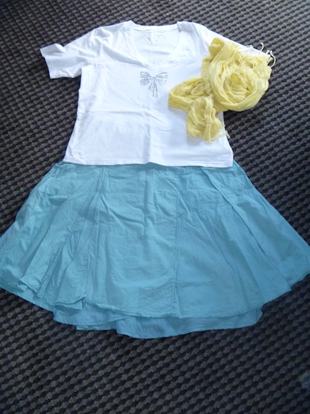Wear-once-and-leave white t-shirt with leave behind teal skirt and yellow light weight scarf - at this stage, not sure if this also will be left behind.